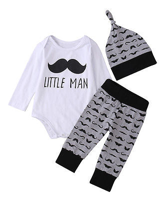 3pcs Newborn Toddler Infant Kids Baby Boy Clothes Long Sleeve Beard Printed Tops Romper+Pants Legging Hat Outfits Set-eosegal