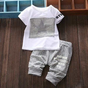 new casual baby boy clothes short sleeve t-shirt + lattice pants infant 2pcs suit newborn baby clothing sets summer-eosegal