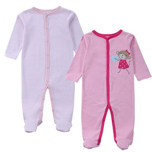 2 Pcs/lot Baby Clothes Baby Boy Girls Footed Romper Baby Rompers 100% Cotton Sleep & Play Clothes Baby Pajamas Newborn Clothing-eosegal