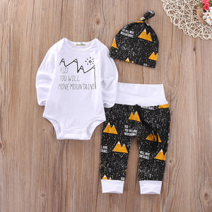 Christmas Infant Baby Boy Girl Outfits Clothes Romper Pants Leggings 3PCS Set-eosegal