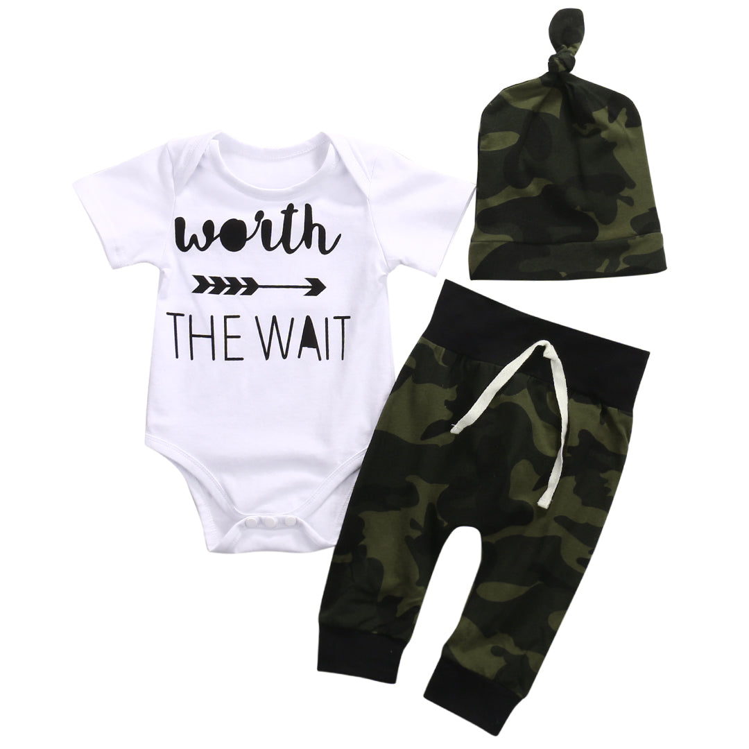 Worth The Wait Newborn Babies letter Clothing Set Infant Baby Boy Girl Bodysui+pants+hats one-pieces Outfits Kids Clothing-eosegal