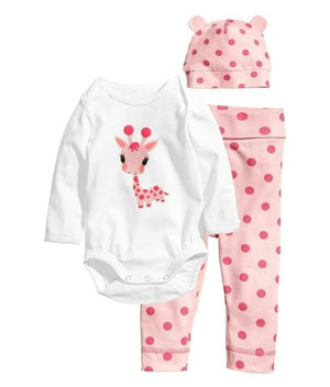 3PCS Newborn Baby Girls Boys Clothing Set Cotton Full Sleeve Romper +Hat+Pants Stripes Baby Girls Boys Clothes Set-eosegal
