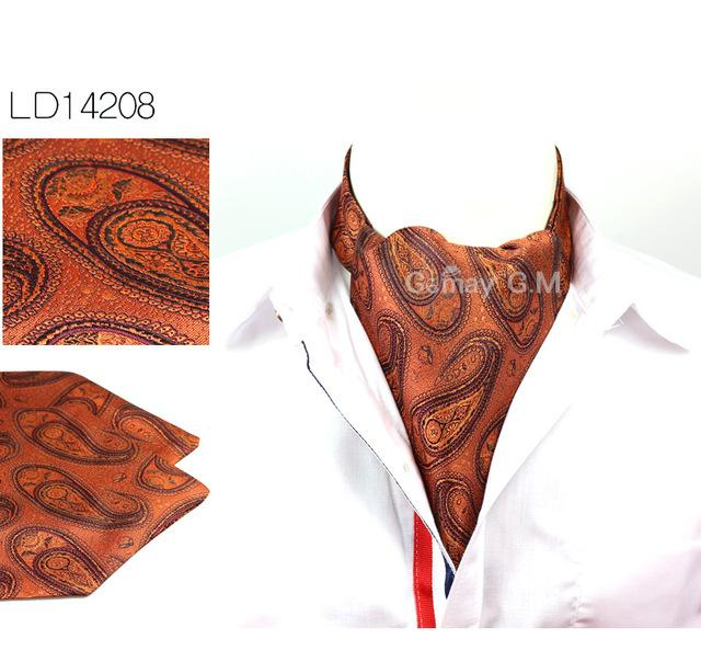 Men Vintage Cashew Floral Wedding Formal Cravat Ascot Scrunch Self British Gentlemaneosegal-eosegal