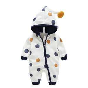 Newborn Baby Romper Kid Jumpsuit Hooded Infant Outfit Clothes Long sleeve Polka Dot Baby Rompers Overalls of Toddler body suit-eosegal