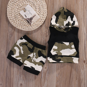 Camouflage Summer Brand Baby clothing sets Hooded Top + Short Sleeveless Baby Boys Sets Outfits 0-24M-eosegal