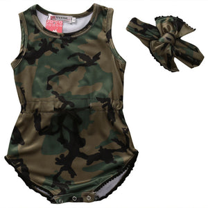 Toddler Baby Girl Clothing Bodysuit Army Green Jumpsuit Sleeveless Cute Clothes Outfits Baby Girls 0-24M-eosegal