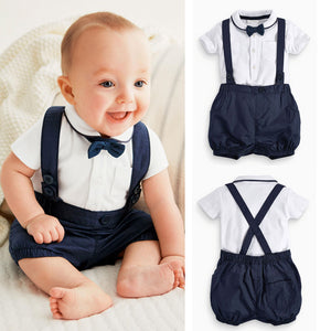2016 Newborn Baby Boy Bow Tie+T-shirt+Bib Pants Overalls 3PCS Set Outfit Clothes-eosegal