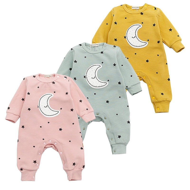 Baby Girls Long Sleeve Warm Romper Jumpsuit Playsuit Moon Outfits Baby Princess One Piece Cute Infant Girl Rompers Baby Clothing-eosegal