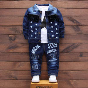 Newborn Denim single breasted 3Pcs/set (coat+t shirt +jeans) bebes Baby boy Newborn baby clothes full Sleeve Baby boy Clothes-eosegal