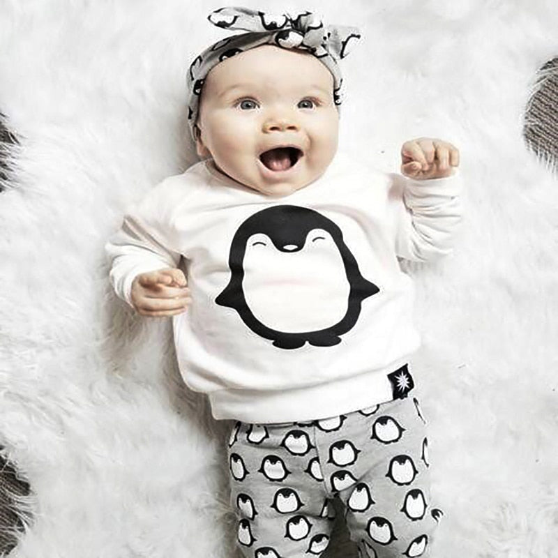 Fashion Baby Girl Clothes 2PCS(Cute Penguin Print Long Sleeve Tshirt+Pants) Baby boy girls Clothing Set Newborn Baby Boy Clothes-eosegal