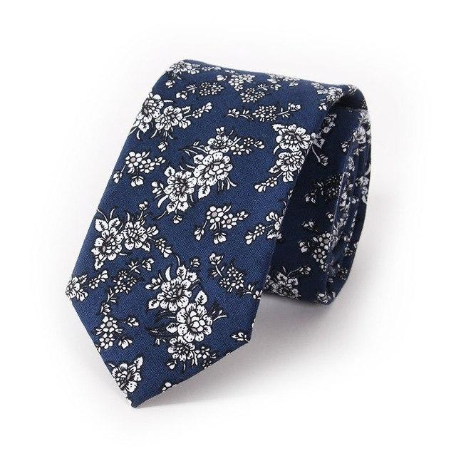 Vintage Men's Floral Neck Tie Blue and White Cotton Casual Fashioneosegal-eosegal