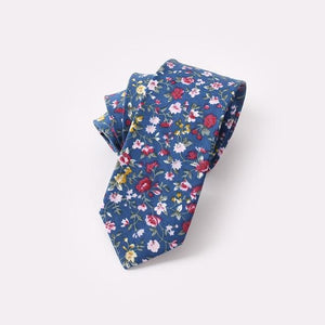 Men Floral Dots Tie Cotton Narrow and Skinny Casual Ties foreosegal-eosegal