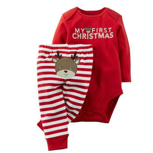 Infant Baby Boys Girls My First Christmas Print Clothing Set Long Sleeved Bodysuit+Striped Pants 2016 New Arrival Christmas Gift-eosegal