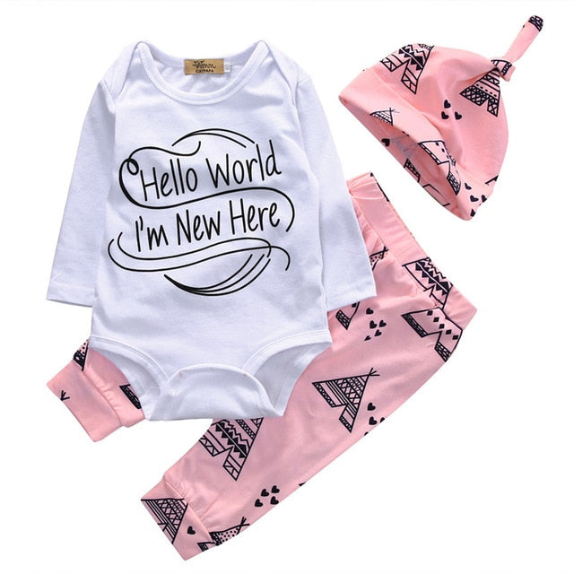 Newborn Baby 3pcs Tops Romper Clothes Sets Long Sleeve Hello World Autumn Clothes Wear 3PCS Cute Boy Girls Boutique Outfits-eosegal