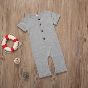 Infant Newborn Toddler Baby Boy Girl Clothes Summer Spring Romper Playsuit Casual Short Sleeve Clothes Solid Outfits 0-24M-eosegal
