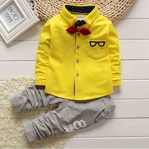 BibiCola 2017 Small Gentleman clothing sets Spring Autumn clothes suit baby boys Glasses cardigan yellow uniform formal clothing-eosegal