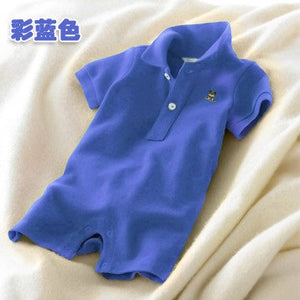 TZ-27, summer baby girls boys POLO romper suit, solid color short sleeve jumpsuit, 97% cotton 3% spandex-eosegal