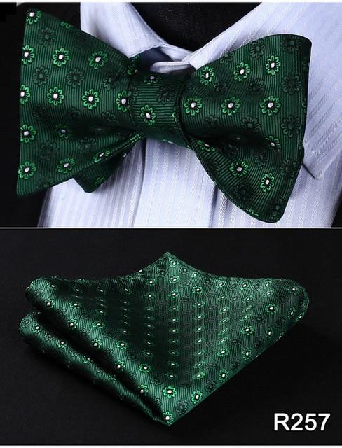 Floral Check Dot 100%Silk Jacquard Woven Men Butterfly Self Bow Tie BowTieeosegal-eosegal