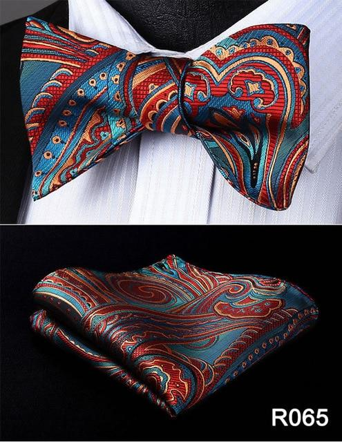 Paisley Floral Check Dot Men Woven Silk Wedding Self Bow Tie handkerchiefeosegal-eosegal