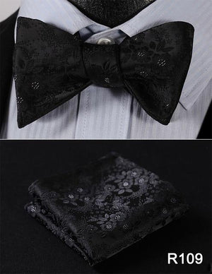 Floral 100%Silk Jacquard Woven Men Butterfly Self Bow Tie BowTie Pocket Squareeosegal-eosegal