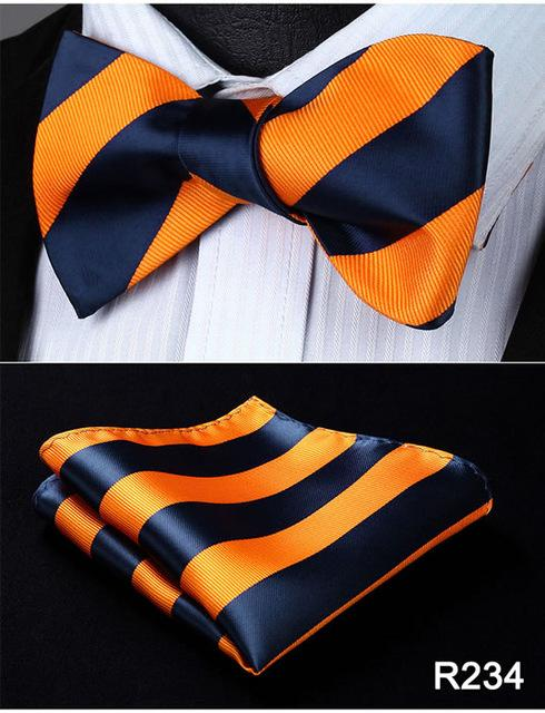 Striped 100%Silk Jacquard Woven Men Butterfly Self Bow Tie BowTie Pocket Squareeosegal-eosegal