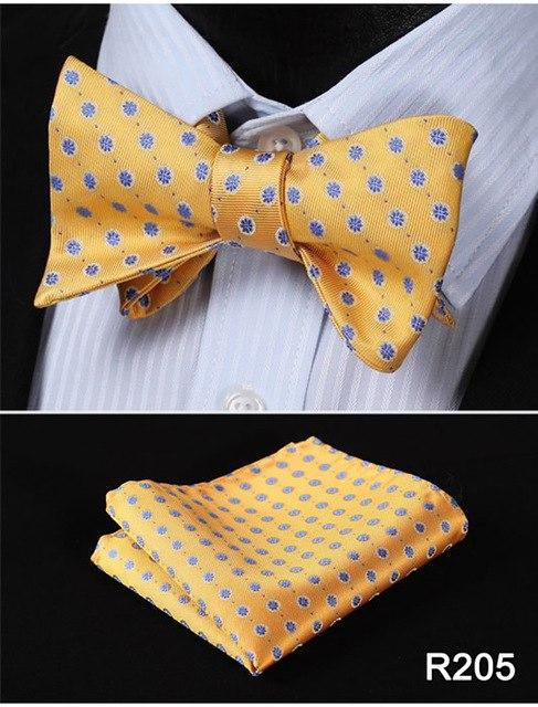 Polka Dot 100%Silk Jacquard Woven Men Butterfly Self Bow Tie BowTie Pocketeosegal-eosegal