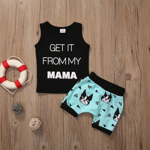 2Pcs baby clothing Toddler Kids Baby Boy Summer Clothes Casual T-shirt Tops+Shorts Outfits Set-eosegal