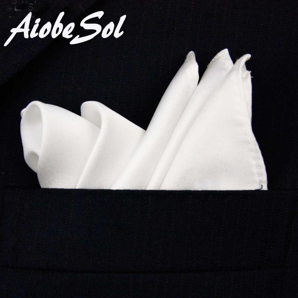 100% Natural Silk Men's Handmade Classical White Pocket Handkerchief Pocket Square Hankyeosegal-eosegal