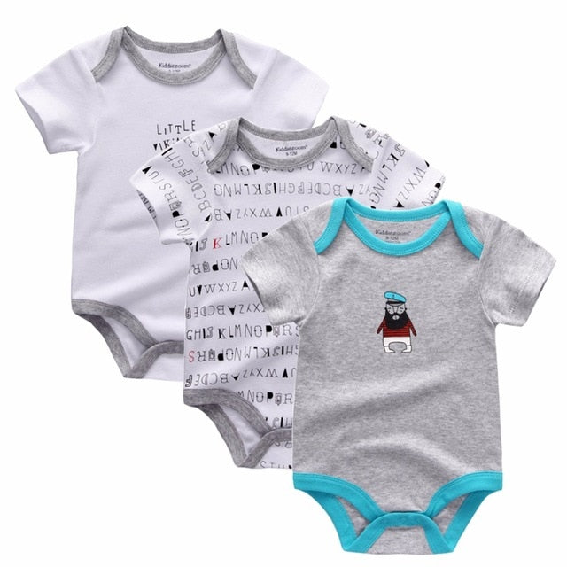 3PCS/LOT Newborn Girl Boy Baby Clothes High Quality Cute 100%Cotton Short Sleeve Baby Rompers Roupas de bebe Infantil Costumes-eosegal