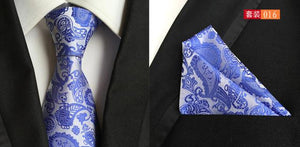 Mens Fashion Tie Hanky Set 8cm Silk Necktie Handerchief Business Gravataeosegal-eosegal