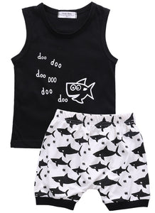 New Arrival Kids Boy Clothing Shark Newborn Baby Boys Sleeveless T-shirt Tops Shorts Summer Outfits Clothes-eosegal