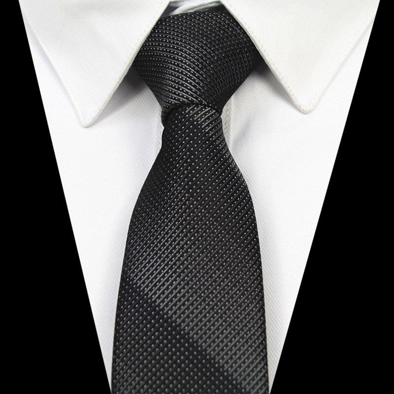 Fashion Quality Slim Tie 6cm Black Gray Skinny Narrow Gravata Silkeosegal-eosegal