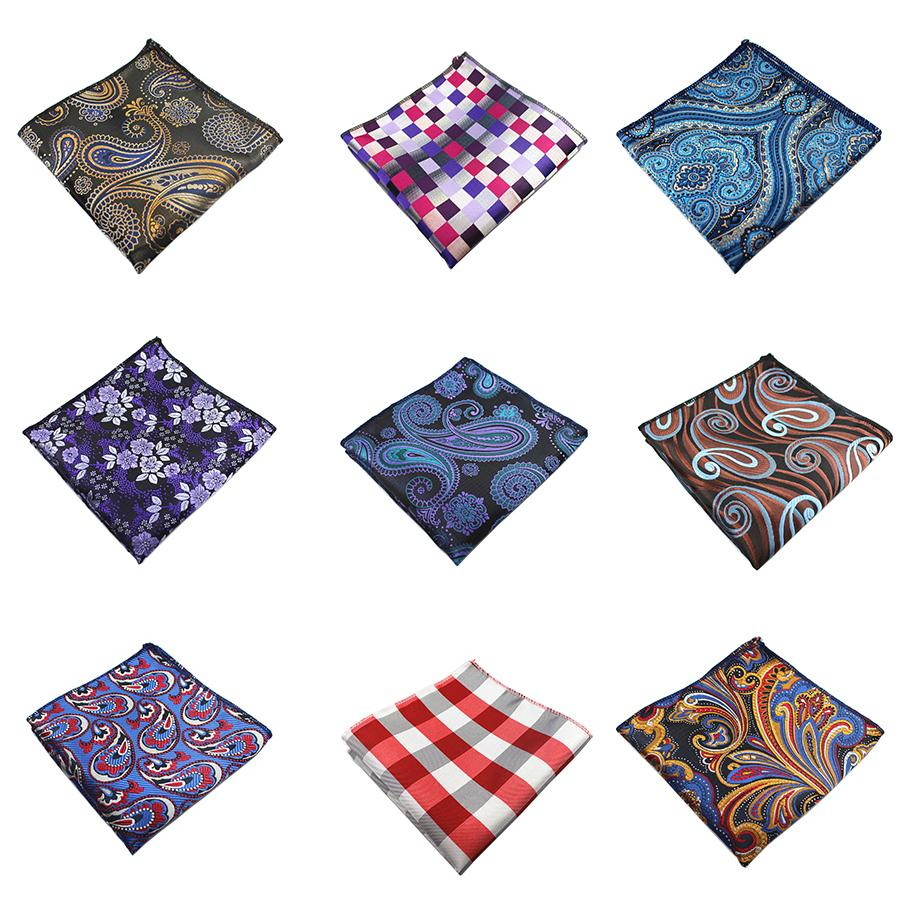 Men Handkerchief Silk Woven Plaid Floral Pattern Hanky Men's Business Casualeosegal-eosegal