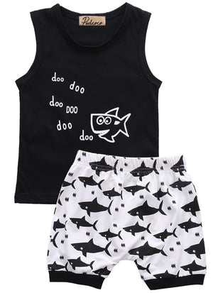 baby summer 2pcs suit!! newborn kids baby boys clothes set letter printed sleeveless tops + shark printed shorts outfits-eosegal