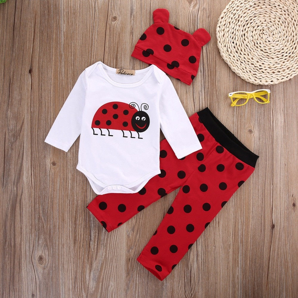3pcs suit!! Newborn Infants Baby Boys Girls Rompers +Long Pants +Hats cartoon Outfits Set Clothes-eosegal