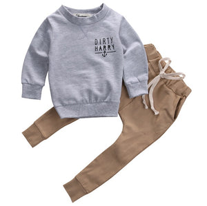 Hoodie Warm Long Pants Casual Hoodies Baby Outfits Set Autumn Winter Newborn Toddler Kids Baby Boys Clothes Set Tops 2pcs-eosegal