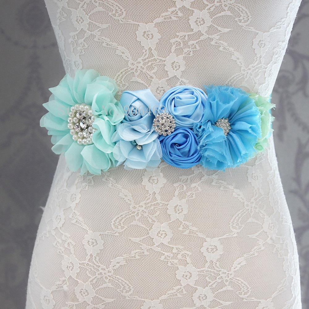 Fashion Blue flower Belt,Girl Woman Sash Belt Wedding Sashes belt with flower headband 1 SET-eosegal