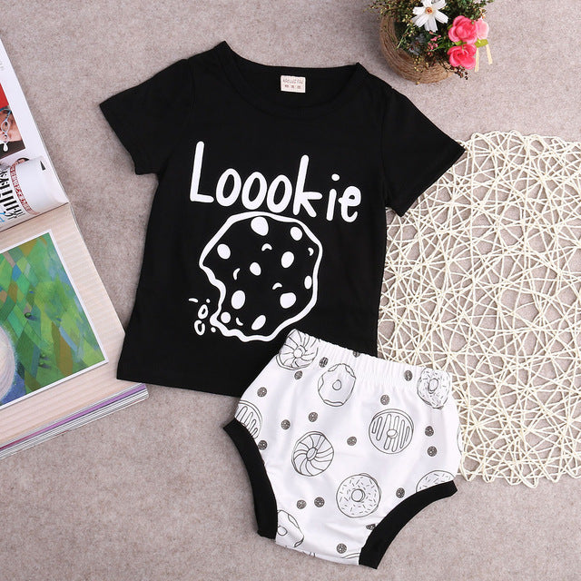Newborn Toddler Infant Baby Boy Girl Unisex Clothes T shirt Tops Pants Casual Outfits 2pcs Short Sleeve Set-eosegal