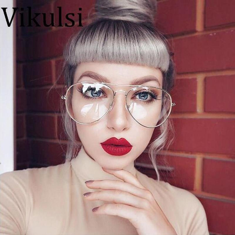 2017 New Aviator Glasses Women Classic Eyeglasses Rose Gold Metal Spectacle Frameeosegal-eosegal