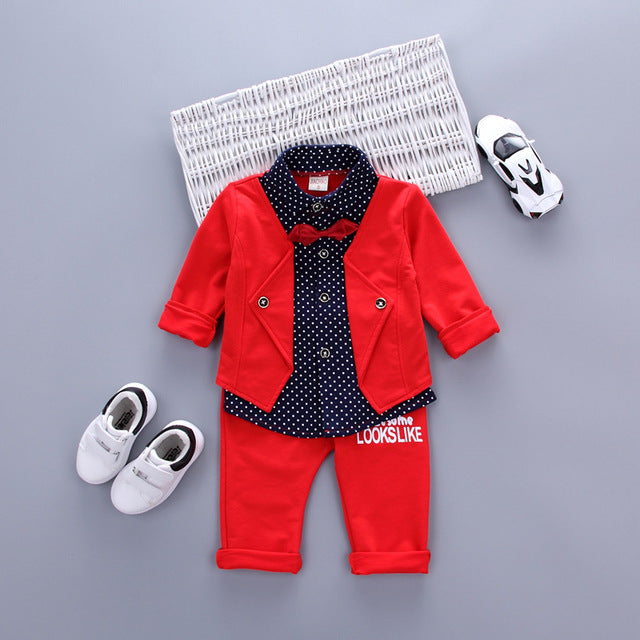 Hot Sales Infant Baby Boys Sets Red Plaid Long-sleeved Shirt+ Pants 2pcs Outfits Toddlers Bow Tie Set Clothes 2017 Spring-eosegal
