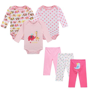 Mother Nest Brand 6 PCS Set Baby Girl Clothing Set Long Sleeves Baby Wear Spring Autumn Casual 100% Cotton Set Romper+Trousers-eosegal