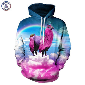 Mr.1991INC Rainbow Colorful Clouds Digital Print Men/women Hooded Hoodies Printing Unicorn 3deosegal-eosegal