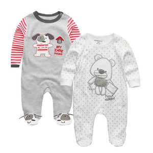 2PCS/LOT Baby Girls Boys Clothing Baby Clothes Pajamas Cute Cartoon 100% Cotton Long Sleeve Infant de bebe Costumes Baby Rompers-eosegal