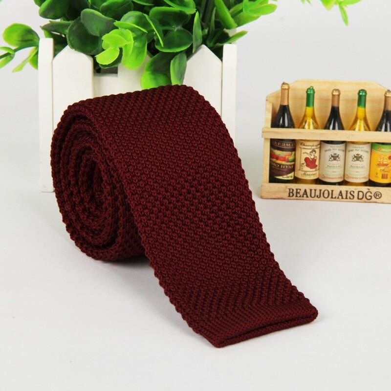 5.5 cm wine red tie knit knitted necktie narrow slim skinny meneosegal-eosegal