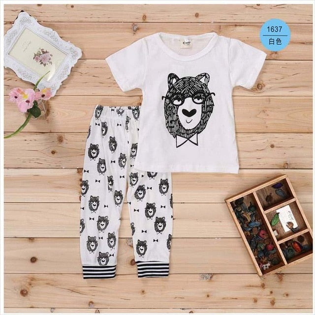 2016 New summer baby clother sets Cotton short sleeve infant clothes 2 pcs baby clothing sets baby boy clothes-eosegal