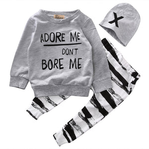 Newborn Baby Boy Girls Clothes Long Sleeve Tops +Long Pants Hat 3PCS Outfits Set-eosegal