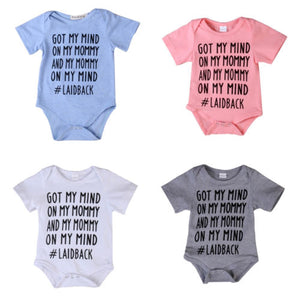 2017 Hot Newborn Baby Romper GOT MY MIND Letter Printed Jumpsuit Short Sleeve Cotton Clothes Outfits Sunsuit-eosegal