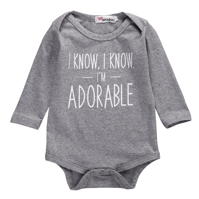 2017 Infant Baby Girl Boy Letters Cotton Bodysuit Jumpsuit Gray Long Sleeve Outfit Baby Clothes-eosegal