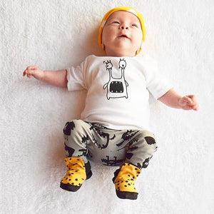 2017 Summer Baby Boy Clothing Sets Newborn Baby Boys Clothes Cotton Cartoon Short Sleeved T-shirts+Pants Infant 2PCS Suit-eosegal