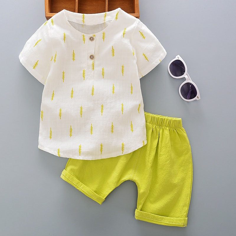 2017 Summer Baby's Sets Boys Leaf Print Short Sleeve T-Shirt Tops + Casual Shorts Kids 2Pcs Suits conjunto roupas de bebe-eosegal